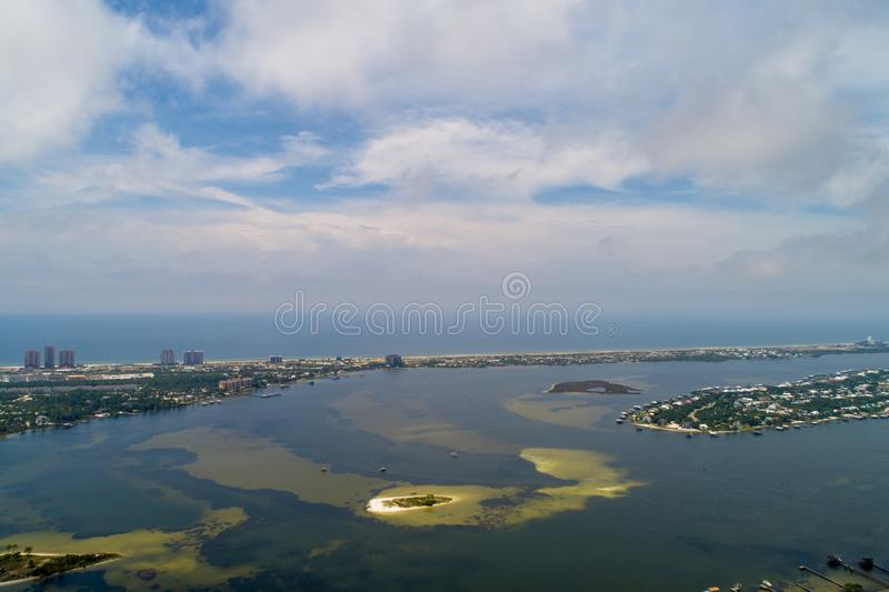 Perdido Key Beach. Aerial view of Perdido Key Beach, Florida and Ono Island, Alabama royalty free stock photos