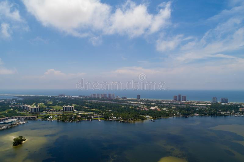 Perdido Key Beach. Aerial view of Perdido Key Beach, Florida and Ono Island, Alabama stock photo