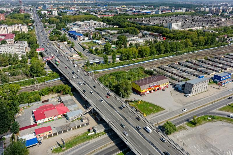 Aerial view on Permyakova street. Tyumen. Russia stock photos