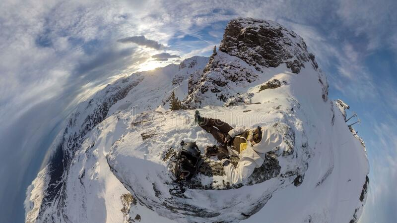 Aerial view of person on mountain summit royalty free stock photography