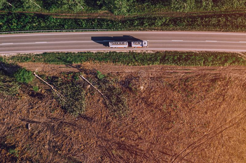 Aerial view of petrol fuel tanker truck on road stock photography