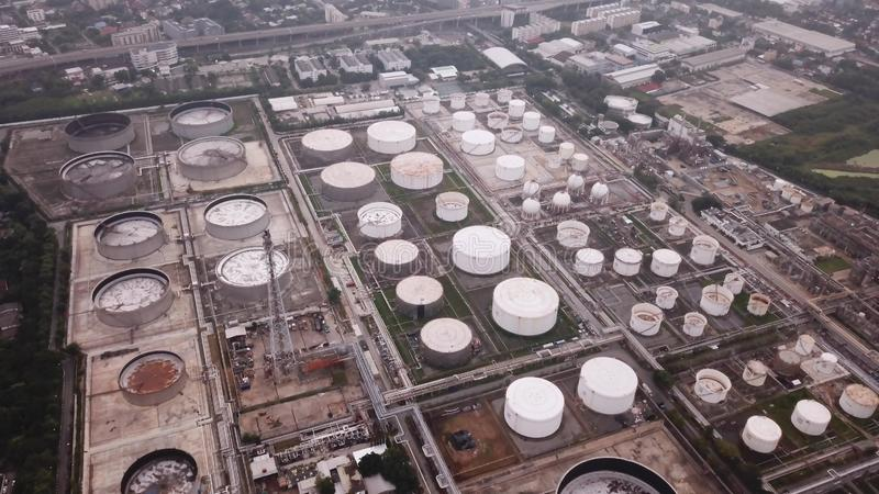 Aerial view of Petroleum`s oil refinery in industrial engineerin. G concept. Oil and gas tanks industry. Modern factory stock photos