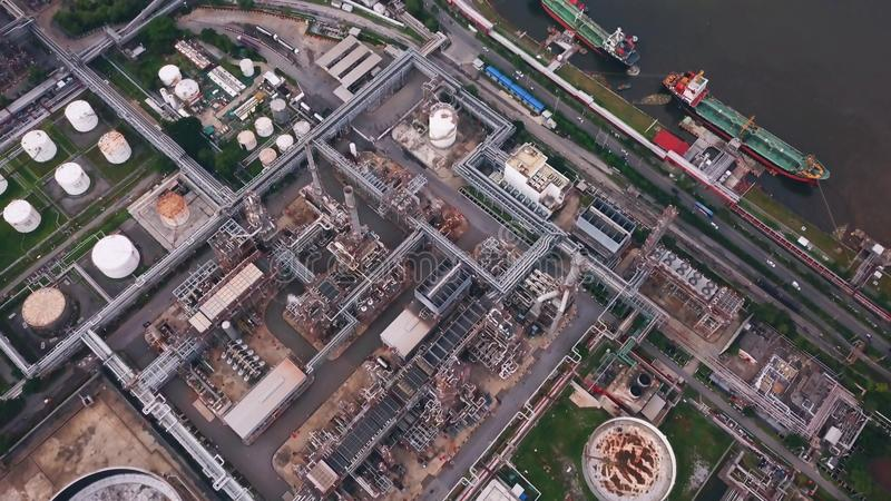Aerial view of Petroleum`s oil refinery in industrial engineerin. G concept. Oil and gas tanks industry. Modern factory stock images