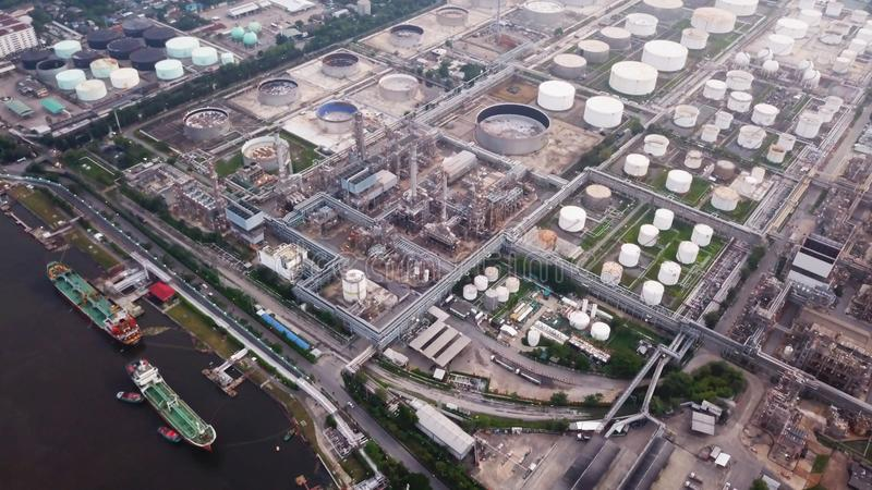 Aerial view of Petroleum`s oil refinery in industrial engineerin. G concept. Oil and gas tanks industry. Modern factory stock photo