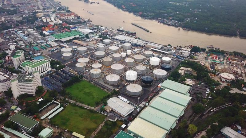 Aerial view of Petroleum`s oil refinery in industrial engineerin. G concept. Oil and gas tanks industry. Modern factory stock image