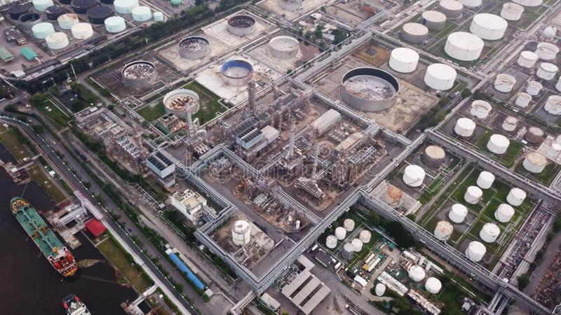 Aerial view of Petroleum`s oil refinery in industrial engineerin. G concept. Oil and gas tanks industry. Modern factory royalty free stock photo