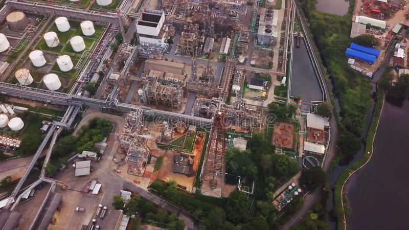Aerial view of Petroleum`s oil refinery in industrial engineerin. G concept. Oil and gas tanks industry. Modern factory royalty free stock photography