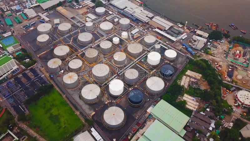 Aerial view of Petroleum`s oil refinery in industrial engineerin. G concept. Oil and gas tanks industry. Modern factory royalty free stock photos