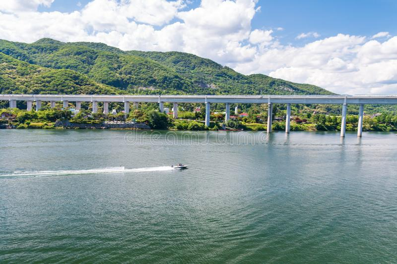 Aerial view photo of high speed water ski towed by speed boat in river. Korea royalty free stock photos