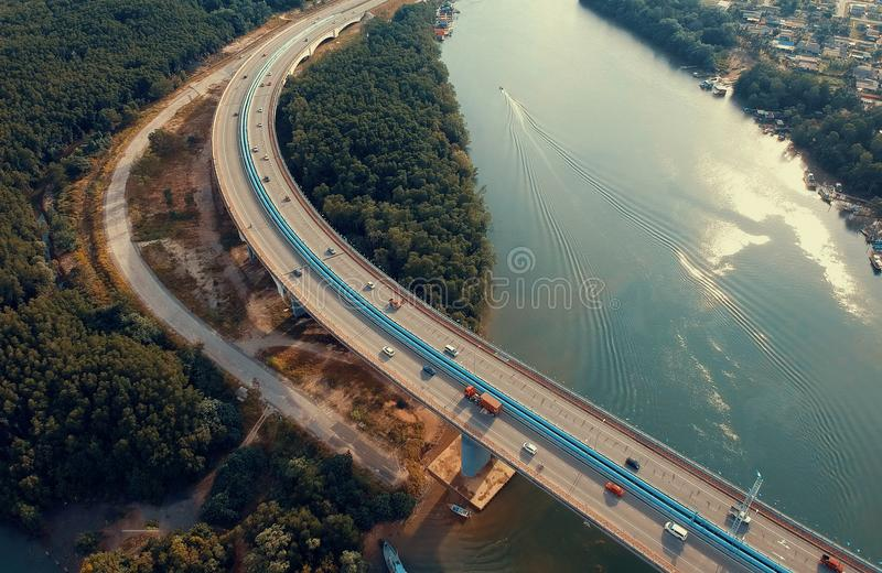Aerial View Photography of Bridge Near River royalty free stock images