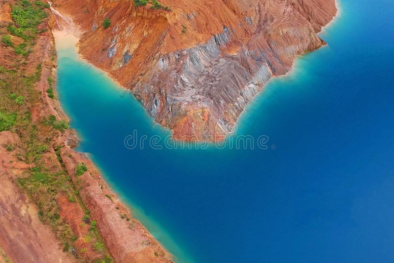 Aerial View Photography of Brown Island stock images