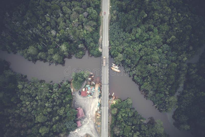 Aerial View Photography of Gray Concrete Bridge royalty free stock photos