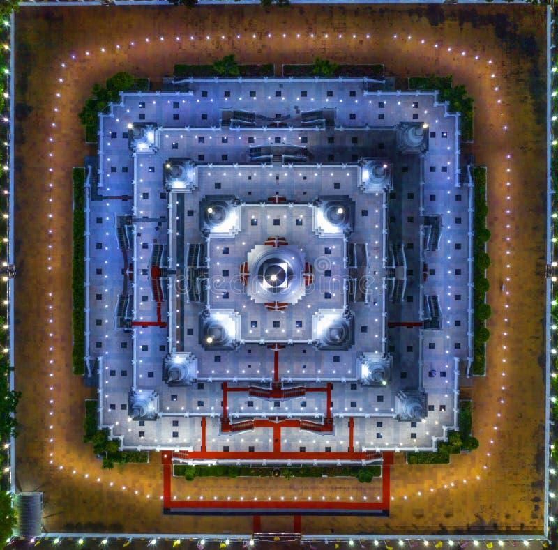Aerial view Photography of Wat Asokaram Buddhist temple at night in Samutprakan,Thailand.  stock image