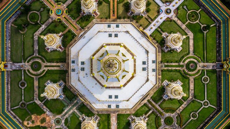 Aerial view Phra Maha Chedi Chai Mongkol or Phanamtip temple, Roi Et, Thailand.  stock image