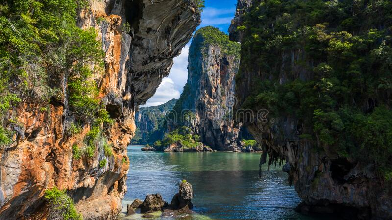 Aerial view Phra Nang Cave Beach with traditional long tail boat on Ao Phra Nang Beach, Railay Bay, Krabi, Thailand.  stock images