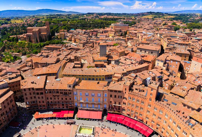 Aerial view of Piazza del Campo in Siena, Tuscany, Italy stock image
