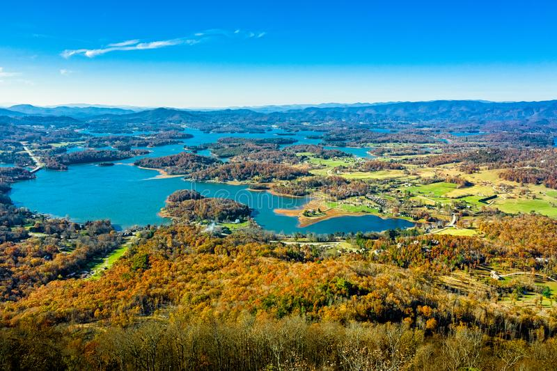 Aerial view picture of Hiawassee in Georgia mountains during the Fall royalty free stock photography