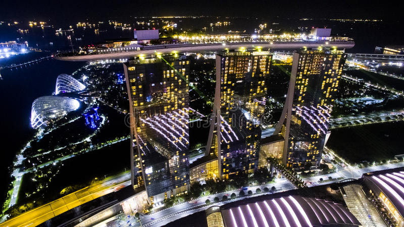 Aerial View - picture of night Marina Bay Sands royalty free stock photo