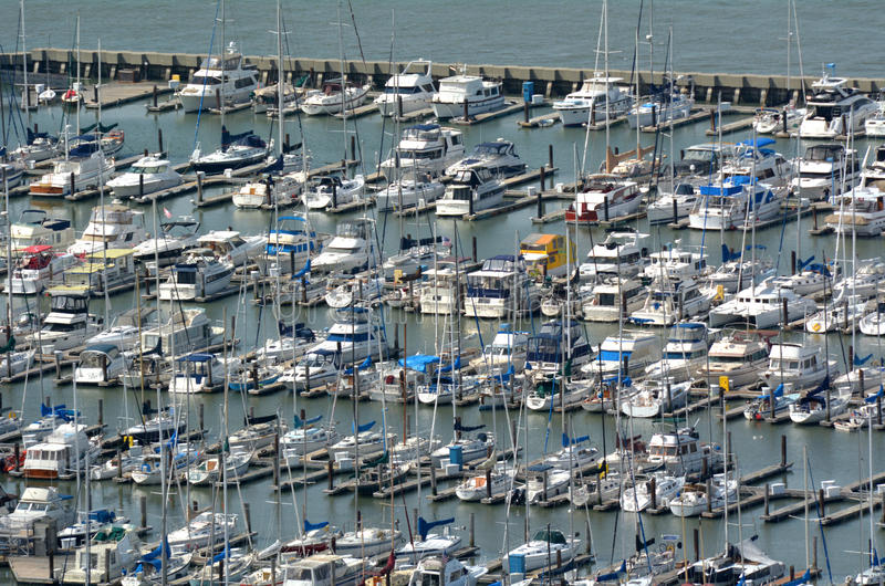 Aerial view of Pier 39 Marina in Fishermans Wharf San Francisco stock images