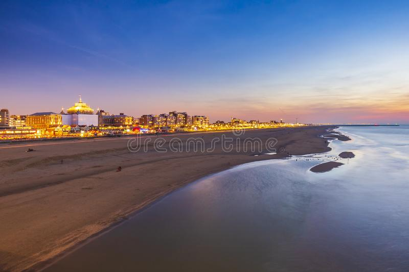 Aerial view from pier on sea, coastline and the beach and Scheveningen, the Hague royalty free stock photos