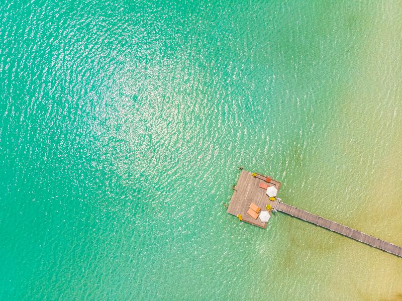 Aerial view of pier royalty free stock photos