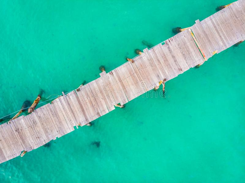 Aerial view of pier royalty free stock photo