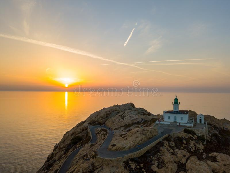 Aerial view of the Pietra Lighthouse at sunset. Red Island, Corsica, France stock photography