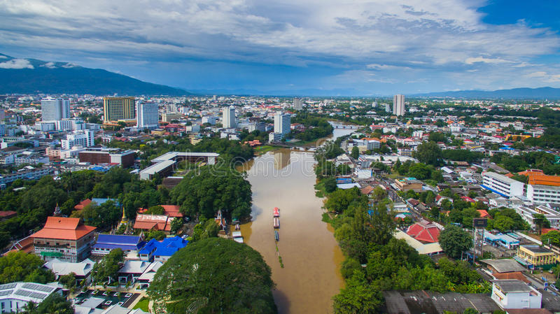 Aerial view Ping river in Chiang Mai City, High angle view Planning Thailand.  royalty free stock images
