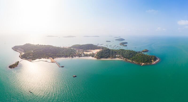 Aerial view of pirate island, Dao Hai Tac, in the southern coast of Vietnam. Bay of water with beach, undeveloped tropical island.  stock images