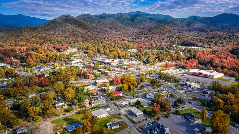 Aerial view picturesque Asheville neighborhood during the Fall with colors starting to show royalty free stock photography