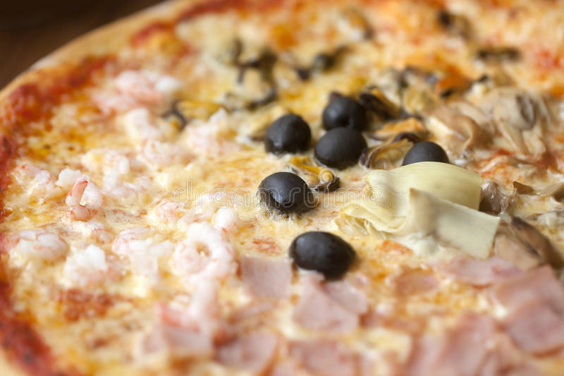 Aerial view of a Pizza royalty free stock photography