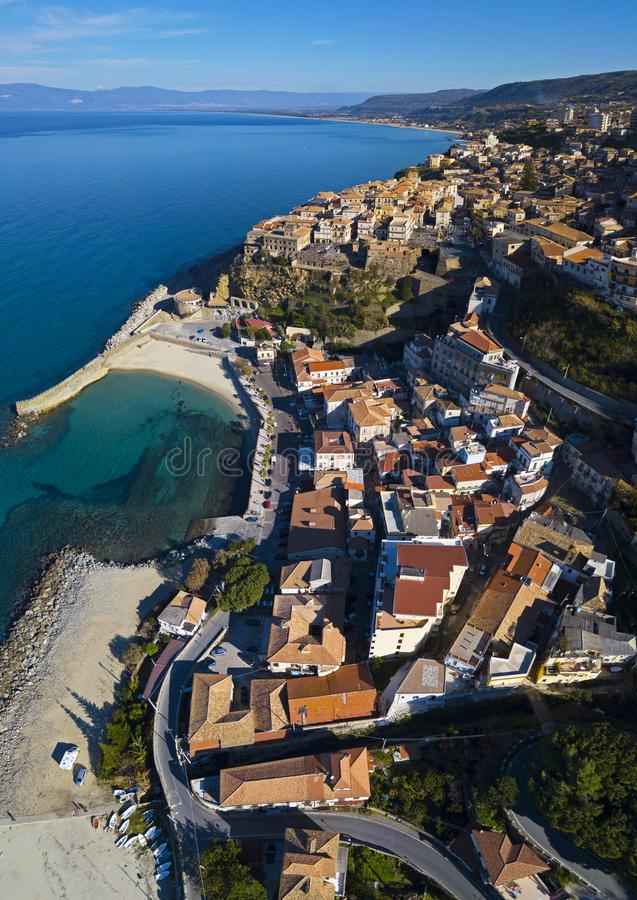 Aerial view of Pizzo Calabro, pier, castle, Calabria, tourism Italy. Panoramic view of the small town of Pizzo Calabro by the sea. stock image