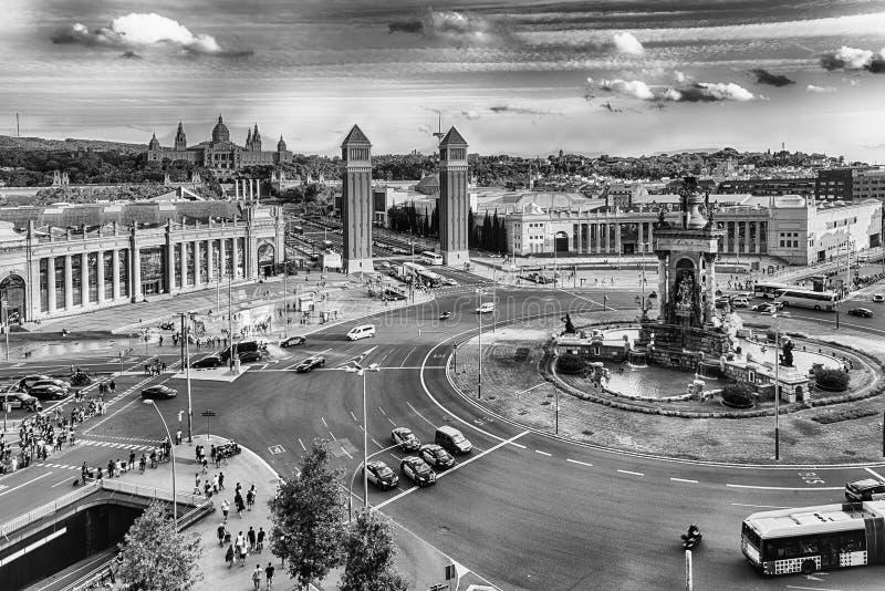Aerial view of Placa d& x27;Espanya, landmark in Barcelona, Catalonia stock images
