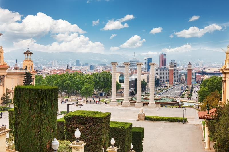 Aerial View on Placa Espanya and Montjuic Hill with National Art Museum of Catalonia, Barcelona, Spain stock photography