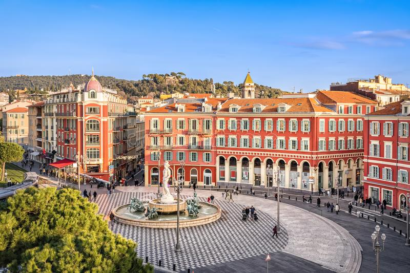 Aerial view of Place Massena in Nice, France royalty free stock photo