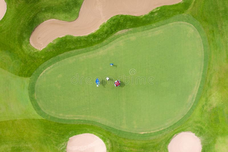 Aerial view of players on a green golf course. Golfer playing on putting green on a summer day stock images