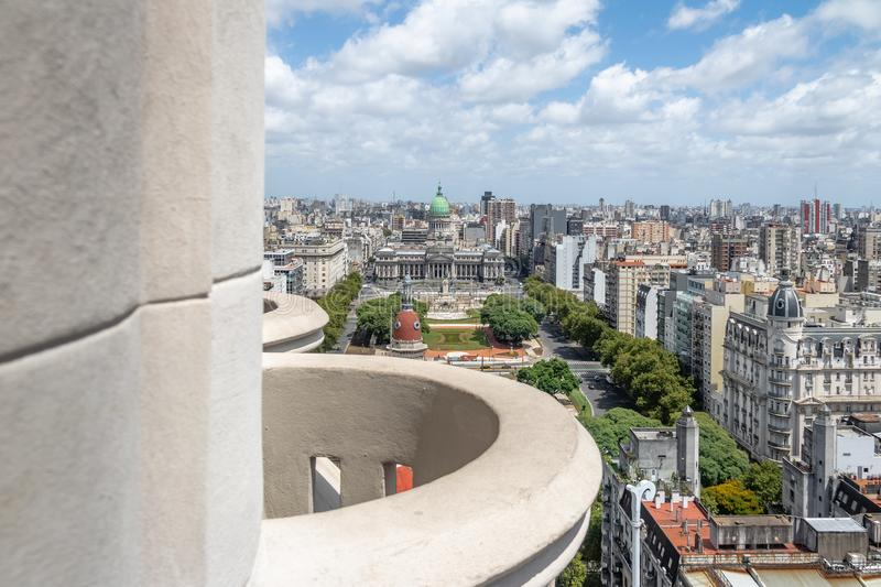 Aerial view of Plaza Congreso from Barolo Palace Balcony - Buenos Aires, Argentina royalty free stock photo