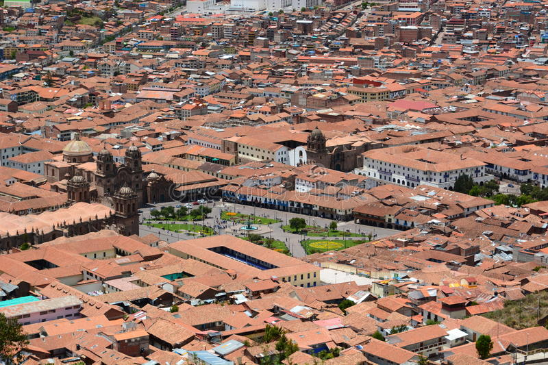 Aerial view of Plaza de Armas. Cusco. Peru. Cusco, or Cuzco, is a city in southeastern Peru, near the Urubamba Valley of the Andes mountain range stock image