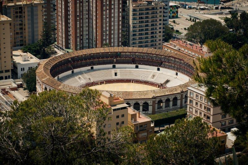 Plaza de Toros La Malagueta. Aerial view of Plaza de Toros La Malagueta, bullring in Malaga, Andalusia, Spain royalty free stock image