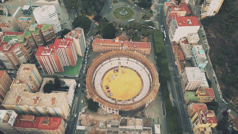Aerial view of Plaza de toros de La Malagueta or historic Malaga bullring, Spain. Aerial view of Plaza de toros de La Malagueta or Malaga bullring stock image