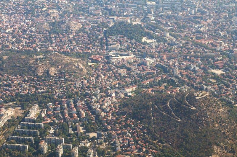 Aerial view of Plovdiv - Mladezhki Halm stock photography