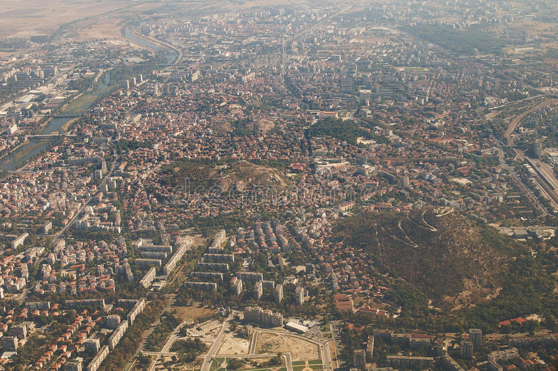 Aerial view of Plovdiv - Mladezhki Halm royalty free stock photography