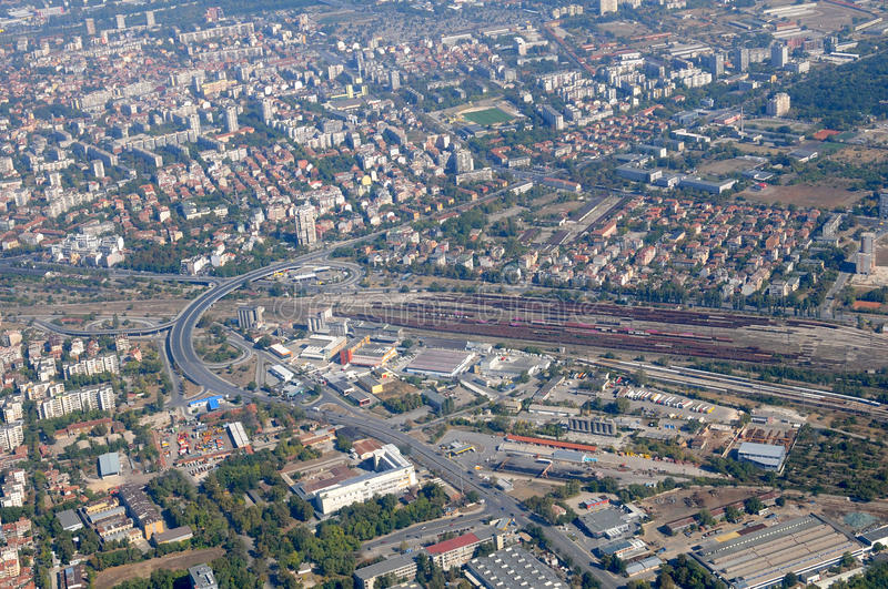 Aerial view of Plovdiv stock image