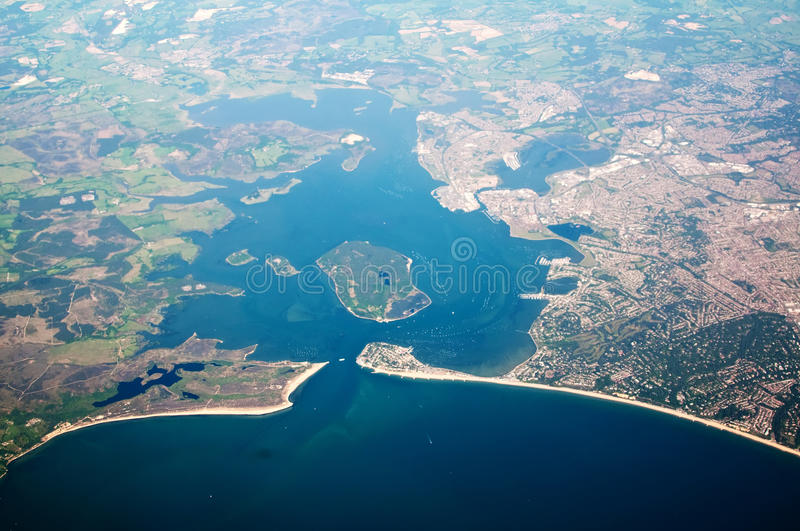 Aerial view of poole in dorset uk stock photos