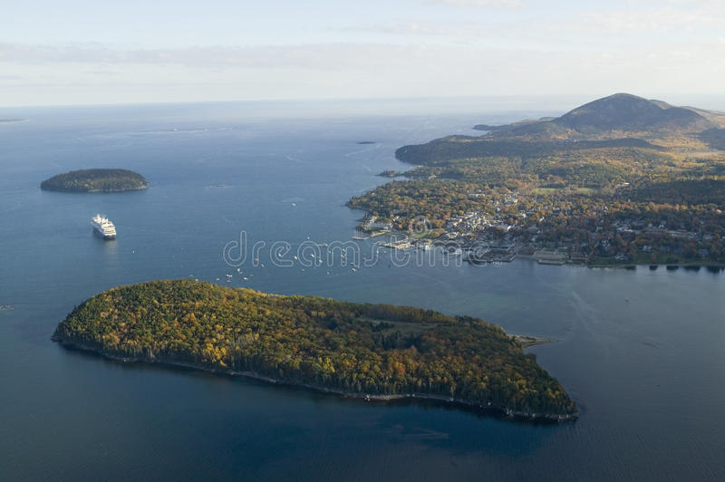 Aerial view of Porcupine Islands, Frenchman Bay and Holland America cruise ship in harbor, Acadia National Park, Maine stock image