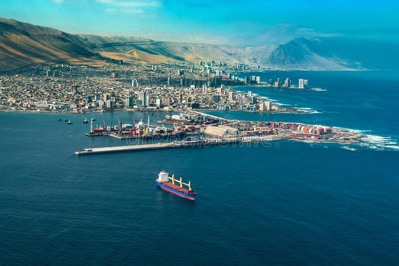 Aerial view of the port city of Iquique in northern Chile royalty free stock photos