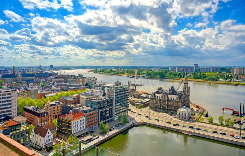 Aerial view of the port and docks in Antwerp, Belgium. An aerial view of the port and docks in Antwerp Antwerpen, Belgium stock image