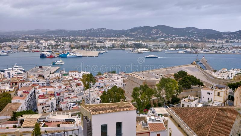 Aerial view of the port of Ibiza at noon stock images
