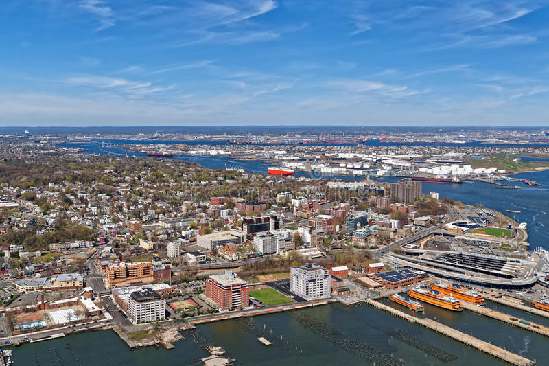 Aerial view of Port Newark in Bayonne. New Jersey USA. The area is known for oil storage and international shipping stock photography