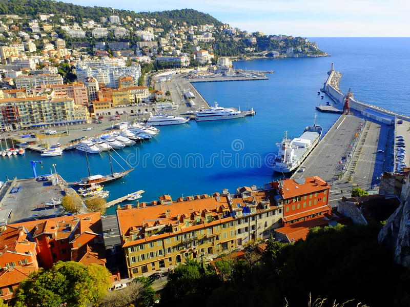 Aerial View on Port of Nice, France royalty free stock photography